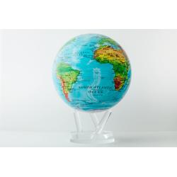 Blue Relief Map World Globe